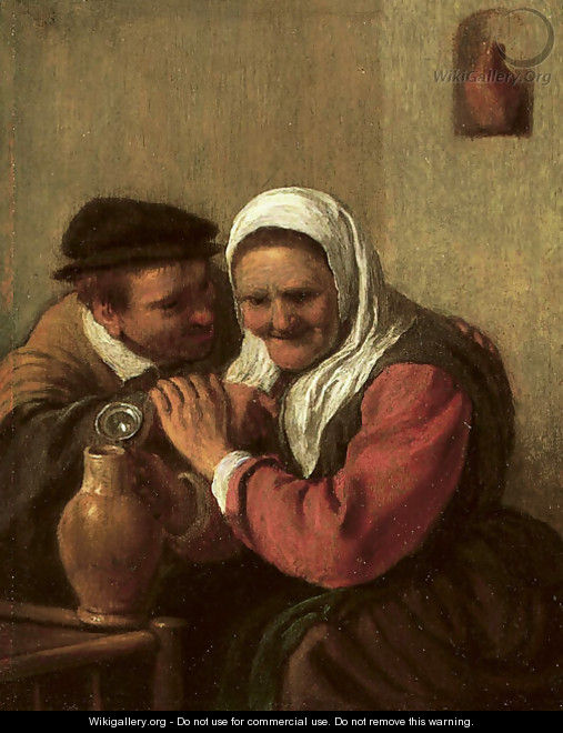A peasant couple drinking in an interior - (after) Hendrick Maertensz. Sorch (see Sorgh)