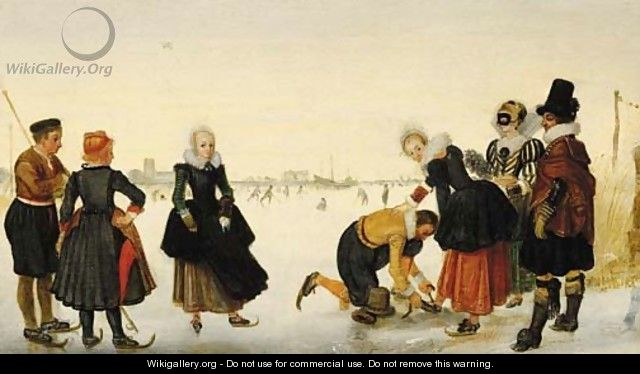 Elegant ladies and gentlemen taking to the ice on a frozen river with skaters and a town beyond - (after) Hendrick Avercamp