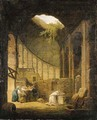 A hermit praying before an altar in a ruined chapel, with three woman offering flowers - (after) Hubert Robert