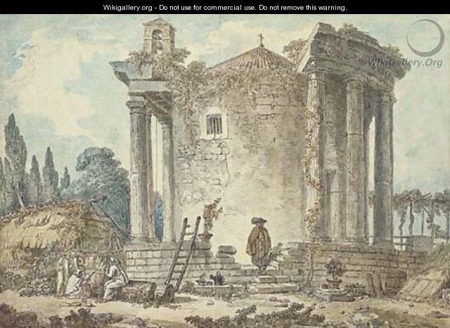 A capriccio with the Temple of the Sybil at Tivoli, Capuchin priests standing amongst the ruins - (after) Hubert Robert