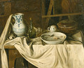 An Artist's Studio with a Meal set out on a partially draped Bench in the foreground - (after) Jacques Albert Senave