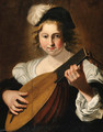 A lady playing a lute - Christiaen van Couwenbergh