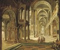 The interior of a Gothic church with elegant company conversing in the aisle - Christian Stocklin