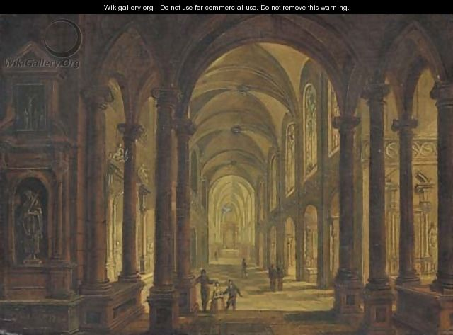 The interior of a church at night - Christian Stocklin