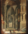 The interior of a cathedral with figures - Christian Stocklin