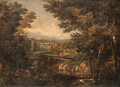 An extensive Italianate river Landscape with Travellers and Packmules on a Track, a Villa beyond - Christian Reder