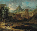 An Italianate landscape with travellers and a packmule on a river bank - Christian Hulfgott Brand
