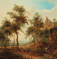 A wooded landscape with a hunting party by a stream, a ruined castle on a hill beyond - Christian Georg Schuttz II