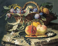 Peaches and plums in a wicker basket, peaches on a silver dish and narcissi on stone plinths - Christian Berentz