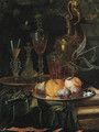 Figs and peaches on a pewter platter, glasses of wine on a gold dish, an ornamental silver-gilt ewer and a knife on a partly draped ledge - Christian Berentz