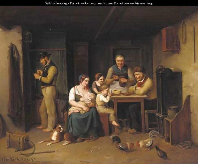 A family in an interior - Christian Andreas Schleisner