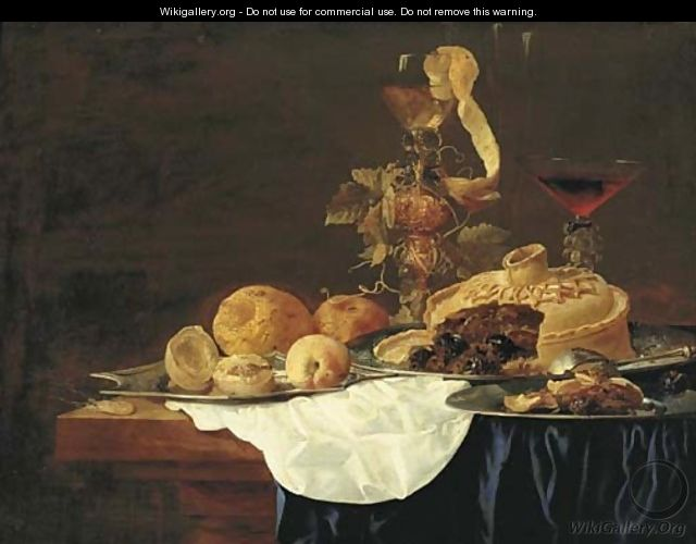 A pie on a silver plate, a lemon and peaches on a platter, with hazlenuts on a plate, a roemer and a glass of red wine on a partly-draped table - Christian Luycks
