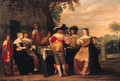 Elegant company merrymaking on a terrace - Christoffel Jacobsz van der Lamen