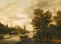 .A river Landscape with Loggers and Sailboats - (after) Adriaen Hendriksz. Verboom