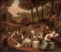 A hunting party stopped by a sleeping milkmaid - (after) Adriaen Cornelisz. Beeldemaker