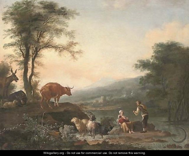A river landscape with a shepherd, his family and their cattle - (after) Adam Pynacker