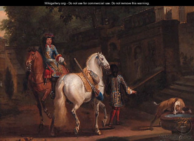 Elegant horsemen by a fountain - (after) Adam Frans Van Der Meulen
