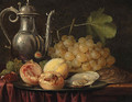 A silver ewer, a bunch of grapes with peaches and oysters on a pewter plate - (after) Abraham Hendrickz Van Beyeren