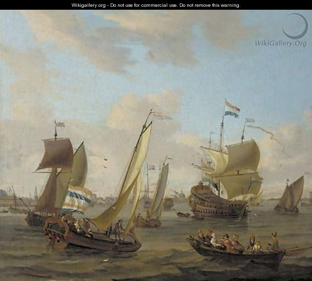 Shipping on the IJ off Amsterdam with a smalschip, a Dutch man-o