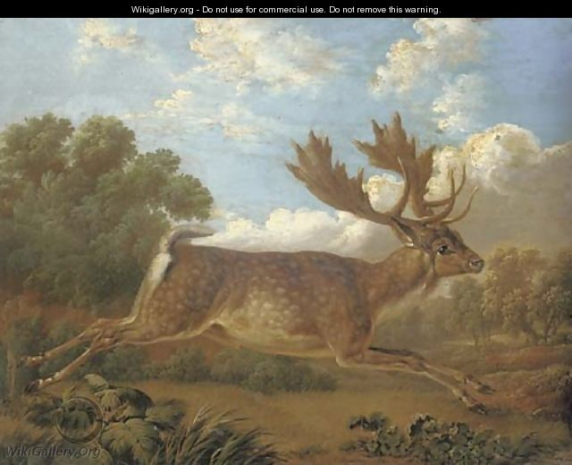 A fallow deer leaping across a field in a landscape - Charles Towne