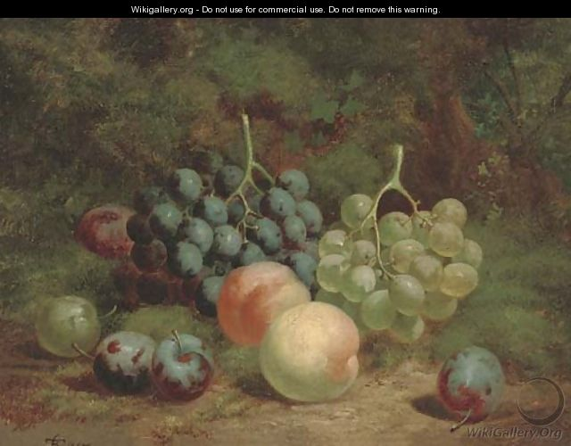 Peaches, grapes and plums on a mossy bank - Charles Thomas Bale
