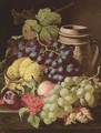 Grapes, redcurrants, plums, a peach, a gourd, and a stoneware tankard, on a wooden ledge - Charles Thomas Bale