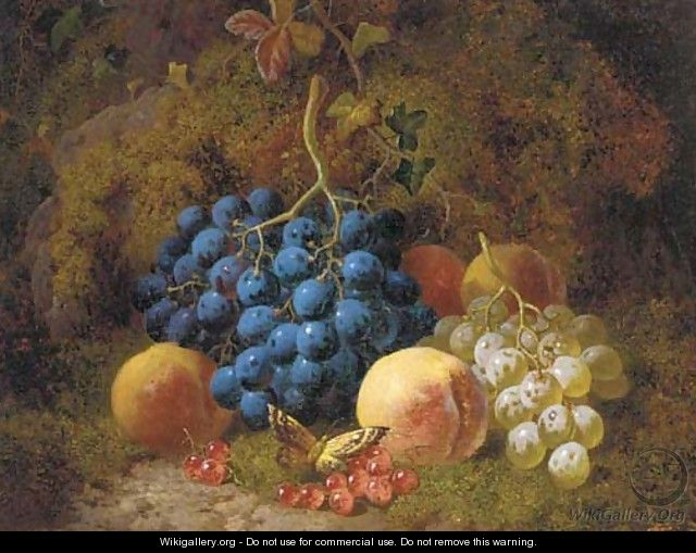 Grapes, peaches, redcurrants, and a butterfly, on a mossy bank - Charles Thomas Bale