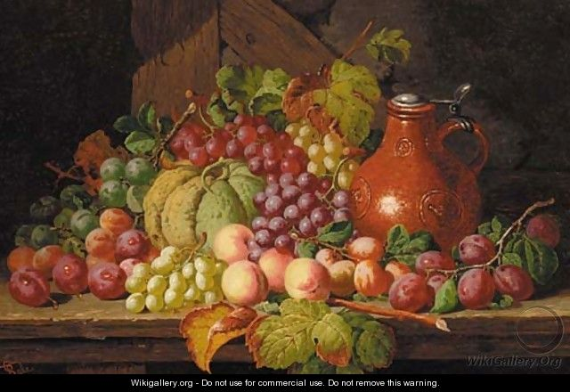 Grapes, peaches, plums, a gourd and a bellarmine, on a wooden ledge - Charles Thomas Bale