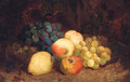 Grapes, Peaches, An Apple And A Pear, On A Mossy Bank - Charles Thomas Bale