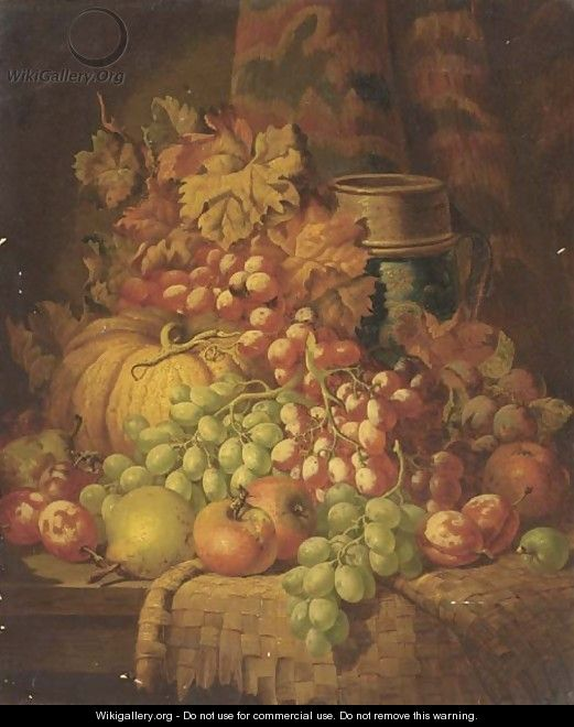 Grapes, apples, pears, plums, a gourd, and a stoneware tankard, on a ledge - Charles Thomas Bale