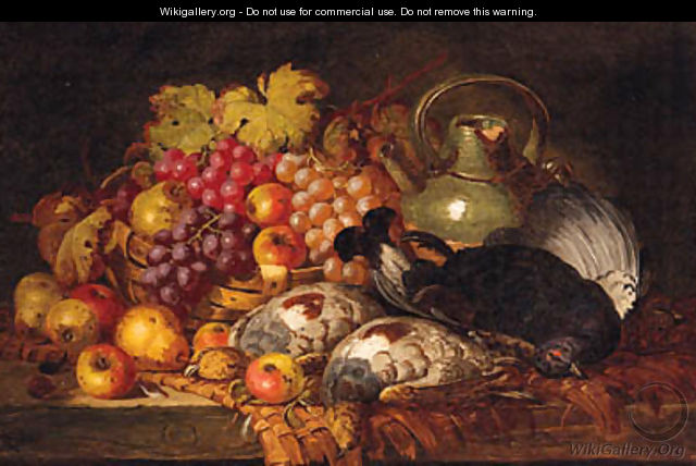 Grapes, Apples, Pears, Dead Game, A Wicker Basket And Stoneware Jug, On A Wooden Ledge - Charles Thomas Bale
