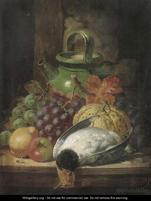 Grapes, a pumpkin, apple, pear, pigeon and pot, on a table - Charles Thomas Bale
