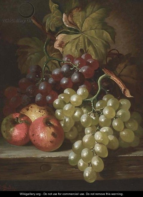 Grapes and apples on a wooden ledge - Charles Thomas Bale