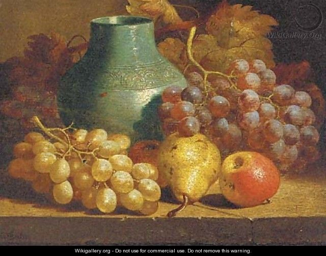 Apples, grapes, a pear and a blue jug on a table - Charles Thomas Bale