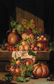A flask on a ledge, with baskets of grapes, plums, apples and squashes - Charles Thomas Bale