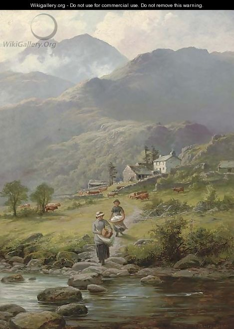 Washing laundry in the river, a mountainous landscape and farmstead beyond - Charles Stuart