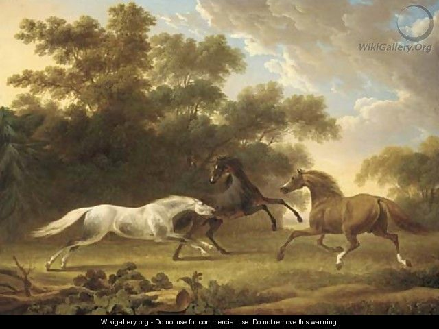 Stallions in a wooded paddock - Charles Towne