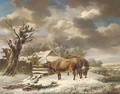 Livestock in a winter landscape - Charles Towne