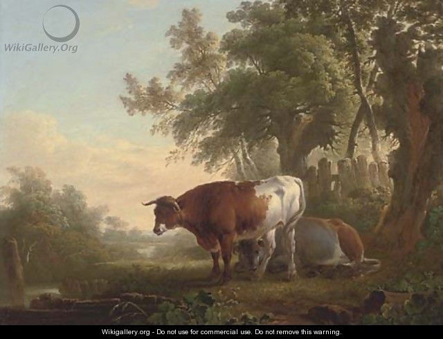 Cattle on a riverbank - Charles Towne