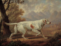 An English Setter in a wooded landscape, with pheasants in the foreground and mountains beyond - Charles Towne