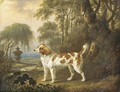 A Marlborough spaniel in a wooded landscape, an urn beyond - Charles Towne