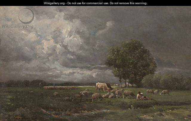 Shepherds grazing their flock - Charles Émile Jacque