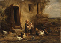 Children feeding the chickens - Charles Émile Jacque