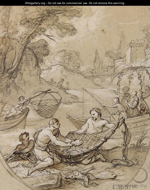 Fishermen drawing their Nets, with figures on a boat in the background - Charles Joseph Natoire
