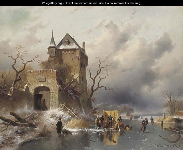 Skaters on a Frozen Lake by the Ruins of a Castle - Charles Henri Leickert