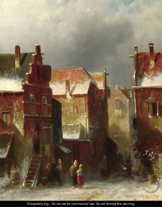 Numerous townsfolk in a street in winter - Charles Henri Leickert