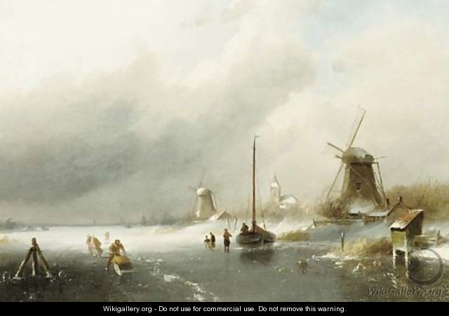 Figures on a frozen river, with windmills beyond - Charles Henri Leickert