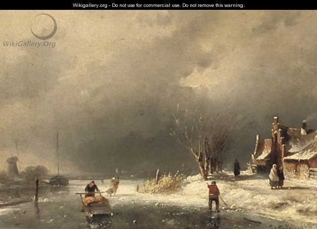 A cold day in winter - Charles Henri Leickert