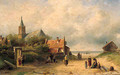 A coastal village with fisherfolk conversing in the foreground - Charles Henri Leickert
