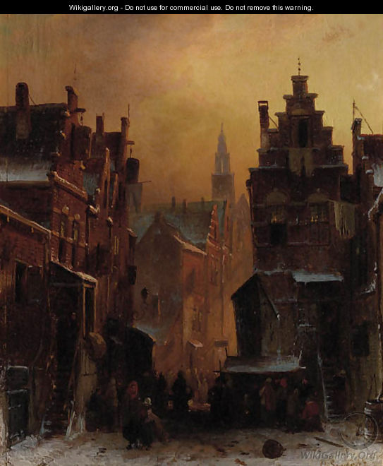 The Jewish quarter in Amsterdam - Charles Henri Leickert